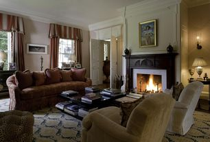Traditional Living Room with Fireplace, brick fireplace, Crown molding, Carpet, Standard height, double-hung window