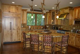 Country Kitchen with Hickory Early American Bar Stool, Vaxcel Lodge Pendant