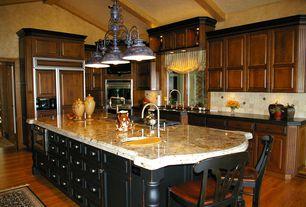 Mediterranean Kitchen with Stonemark granite-granite countertop in solaris, Kentucky bronze island pendant