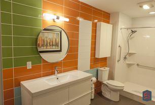 Modern Full Bathroom with can lights, flush light, Handheld showerhead, Shower, Paint, three quarter bath, Concrete tile