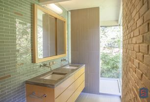 Modern Master Bathroom with Shower, wall-mounted above mirror bathroom light, Standard height, Master bathroom, Double sink
