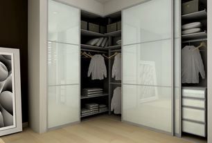 Modern Closet with Paint, Frosted glass sliding closet doors, Bamboo flooring, Paint 1