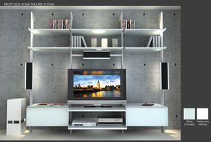Modern Home Theater with Built-in bookshelf, sandstone tile floors, interior wallpaper