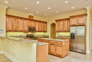 Traditional Kitchen with Raised panel, partial backsplash, built-in microwave, Standard height, Flush, Simple Granite