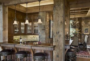 Rustic Bar with Standard height, specialty window, Hardwood floors, Built-in bookshelf, Pendant light, Exposed beam