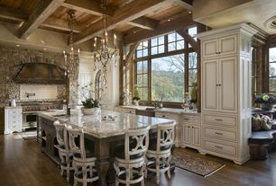 Country Kitchen with Marisol French Country Simple Dark Gold Iron 6 Light Chandelier, Hillsdale Wilshire Counter Stool
