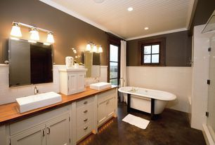 Cottage Master Bathroom with Wood counters, Signature hardware - abbett rectangular vessel sink, Crown molding, Double sink