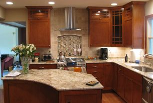 Contemporary Kitchen with Granite countertop in juparana arandis, Multi size slate and glass tile mosaic