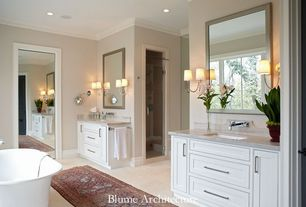 Traditional Master Bathroom with Casement, Inset cabinets, Bathtub, Crown molding, Simple Marble, partial backsplash, Shower