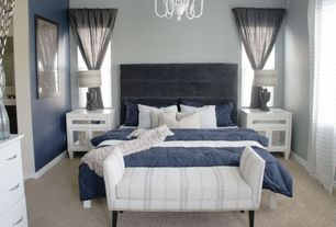 Contemporary Master Bedroom with Ballard designs reynolds bench with pewter nailheads, Chandelier, Bench, Carpet