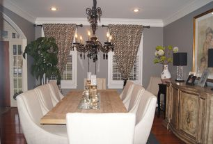Contemporary Dining Room with Chandelier, Sutton Wrought Iron Chandelier With Venetian Bronze Finish, Crown molding