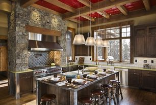 Rustic Kitchen with Kitchen island, Tin ceiling tile, Paint, can lights, Wall Hood, L-shaped, Box ceiling, Pendant light