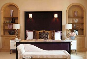 Art Deco Master Bedroom with One kings lane ariel chaiselounge, dove, Paint, Campaign nightstand, Built-in bookshelf, Carpet