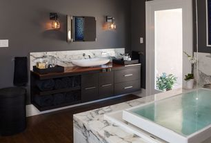 Contemporary Master Bathroom with Kohler k-1188-c1 sok overflowing bath with chromatherapy and right hand drain, French doors