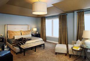 Contemporary Master Bedroom with Tech lighting mulberry 4 light drum pendant, flush light, Carpet