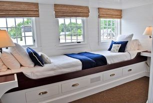Cottage Guest Bedroom with Casement, Built-in bookshelf, Carpet, Exposed beam, Brimnes daybed frame with 2 drawers