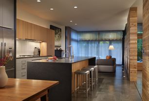 Modern Kitchen with Quartz counters, Flush, Waterfall countertop, Subway tile backsplash, Breakfast bar, High ceiling