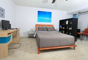 Modern Master Bedroom with Atlantic furniture miami platform bed, Standard height, Intelligent design libra window curtain