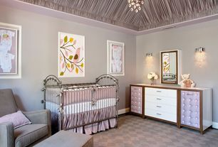 Contemporary Kids Bedroom with Trey ceiling, Metal crib, Carpet, Draped ceiling, Hidden diaper change station, Chandelier