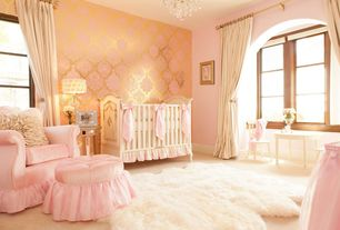 Traditional Kids Bedroom with Chandelier, simple marble floors, Afk art for kids cherubini crib in provence