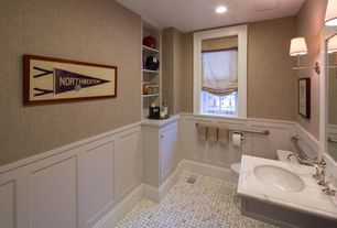 Traditional Powder Room with Casement, Hudson Valley aberdeen sconce, Undermount sink, Simple marble counters, Wall sconce