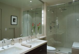 Contemporary Master Bathroom with European Cabinets, Undermount sink, framed showerdoor, Espresso stain finish, Shower, Flush