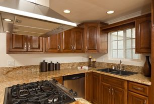 Contemporary Kitchen with Raised panel, Crown molding, Simple Granite, Simple granite counters, U-shaped