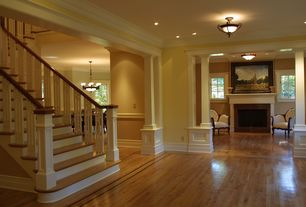 Traditional Entryway with Fairview 2-light heritage bronze semi-flush mount, Interior white columns, Crown molding