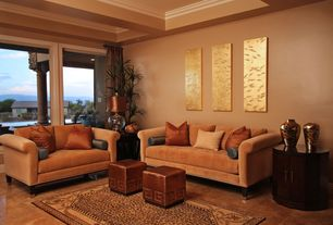 Contemporary Living Room with Rolled arm tuxedo sofa, High ceiling, Marcel copper lamp, Crown molding, Coffered ceiling