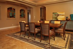 Contemporary Dining Room with travertine floors, High ceiling