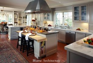 Traditional Kitchen with Simple granite counters, Standard height, Island Hood, Flat panel cabinets, Undermount sink, Flush