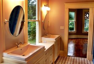 Craftsman Master Bathroom with ceramic tile floors, Flush, Maxim Lighting - Basix 2 Light Vanity Light, Flat panel cabinets