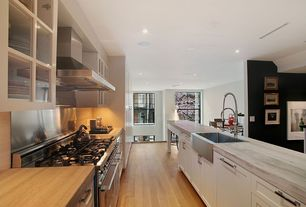 Contemporary Kitchen with Stainless Steel, Breakfast bar, Glass panel, Farmhouse sink, can lights, Wood counters, dishwasher