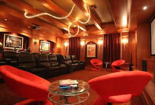 Eclectic Home Theater with Carpet, Exposed beam, Tripod table