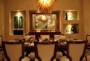Modern Dining Room with Chandelier, can lights, Paint, Carpet, Art niche, Standard height, Niche with accent light