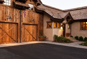 Rustic Garage with Exterior stucco, Coral coast halstead wood planter trellis, Vintage barn pendant - weathered zinc