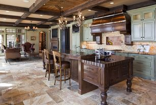 Traditional Kitchen with Ms International Tuscany Gold Travertine Tile, Tumbled travertine tile flooring - multiple sizes