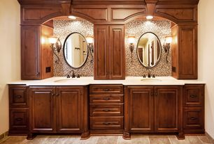Craftsman Master Bathroom with Kichler 5987cz carre bronze one light up lighting wall sconce from the wilton collection