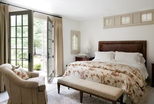 Traditional Master Bedroom with Carpet, French doors