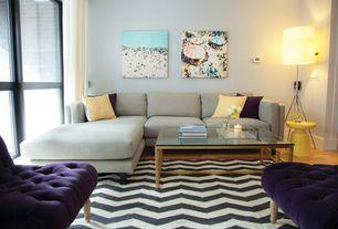 Contemporary Living Room with Standard height, Safavieh chatham dark grey/ivory chevron rug from wayfair.com, Laminate floors