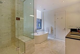 Contemporary Master Bathroom with frameless showerdoor, Undermount sink, Slate counters, Freestanding, Rain shower, Slate
