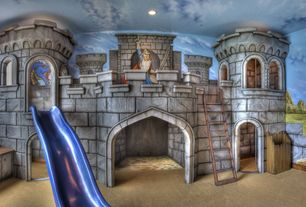 Eclectic Playroom with Carpet, Mural