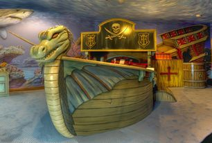 Eclectic Kids Bedroom with Sunken Pirate Ship Bedroom