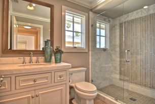 Traditional Full Bathroom with Stone Source, CLAY MIX RUNWAY, Marble, Beige/Taupe, Crown molding, specialty door, flush light
