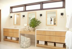 Contemporary Master Bathroom with European Cabinets, Signature Hardware Low-Level Widespread Bathroom Faucet, Double sink