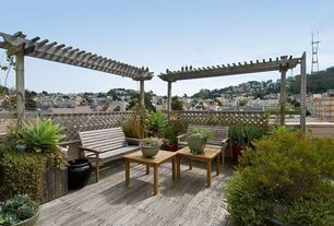 Contemporary Deck with Fence, Trellis