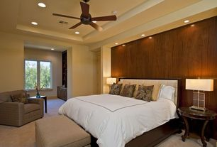 Traditional Master Bedroom with Ceiling fan, High ceiling, Carpet