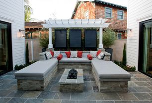 Traditional Patio with Pental raja multi slate, sliding glass door, Trellis, exterior stone floors, Fence, Fire pit