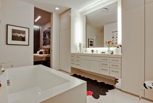 Contemporary Master Bathroom with frameless showerdoor, Shower, Bathtub, Mosa more than white tile, large ceramic tile floors