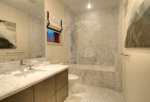 Contemporary Full Bathroom with Complex Marble, Undermount sink, Frameless Wall Mirror, Inset cabinets, European Cabinets